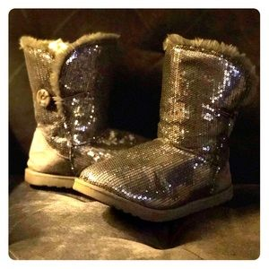 Silver Sequin Girl's Boots